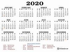 2020 Us Calendar Printable Free Printable 2020 Calendar 123calendars Com