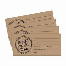 Gift Certificate Paper 25 4x9 Rustic Cute Blank Gift Certificate Cards For