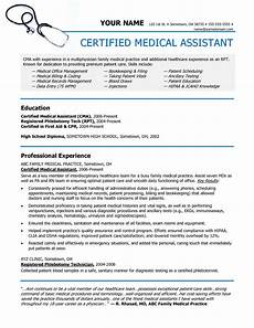 Medical Assistant Summary Certified Medical Assistant Resume
