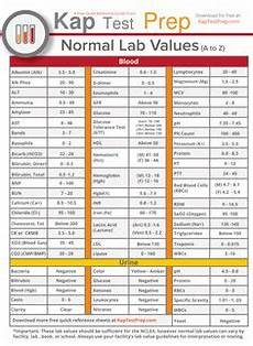 Lab Test Values Chart Normal Lab Values Chart Printable Google Search