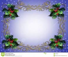 Blue Holiday Border Christmas Holly Border On Blue Royalty Free Stock