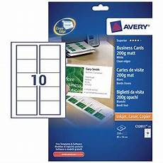 Avery Business Cards 10 Per Sheet Avery Quick Amp Clean Laser Business Cards 85mm X 54mm