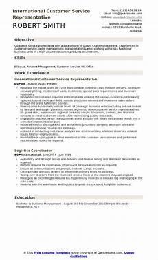 Objective In Resume For Customer Service Representative International Customer Service Representative Resume