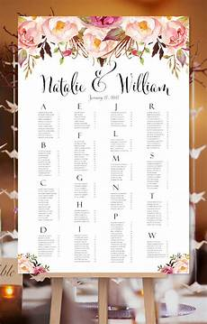 Wedding Seating Chart Poster Size Seating Chart Romantic Blossoms Spring Amp Summer