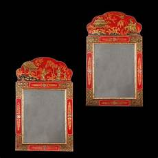 Antique Lighting Shops London A Fine Pair Of Scarlet Japanned Mirrors Mirror Antique