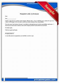 Form Resignation Letter Free Printable Resignation Letter By Employee Form Generic