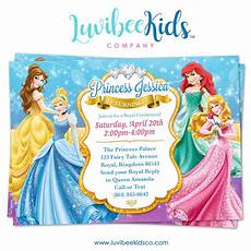 Disney Party Invitations Disney Princesses Birthday Invitation Style 01