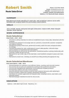Resume Sample For Driver Route Sales Driver Resume Samples Qwikresume