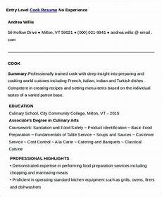Example Of Cook Resume Cook Resumes 9 Free Word Pdf Format Download Free