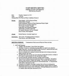 Examples Of Meeting Minutes Staff Meeting Minutes Template 18 Free Word Excel Pdf