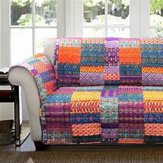 Patchwork Sofa Cover 3d Image by Orange Yellow Blue Purple Boho Patchwork Loveseat