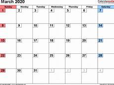 March 2020 Printable Calendar With Holidays March 2020 Calendar Templates For Word Excel And Pdf