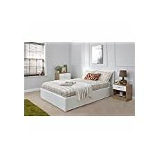 4ft small white faux leather ottoman storage bed