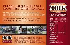 401k Flyers Get Down To One Of 401k Rod Shop S Open Garages Rod