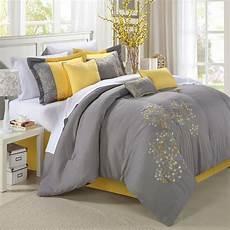 king size 8 modern yellow grey floral comforter set