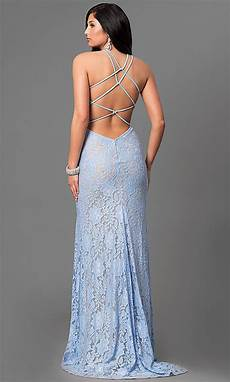 La Femme Light Blue Dress Open Back La Femme Long Lace Prom Dress Promgirl