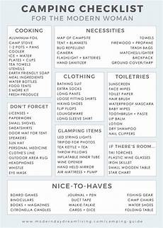 List For Camping A Modern Camping Guide Printable Checklist Camping