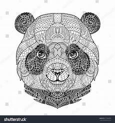 Ausmalbilder Tiere Panda Zen Panda Animal Portrait Zentangle Stock Vector