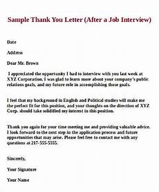 Thank You Letter For Interview Opportunity Free 8 Sample Job Interview Thank You Letter Templates In