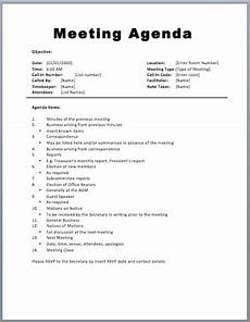 Work Agendas Basic Meeting Agenda Template 187 Printable Meeting Agenda