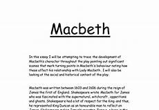 Macbeth Essay Conclusion Trace The Development Of Macbeth S Character Gcse