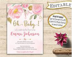 Free Invite Oh Baby Shower Editable Invitation Instant Download