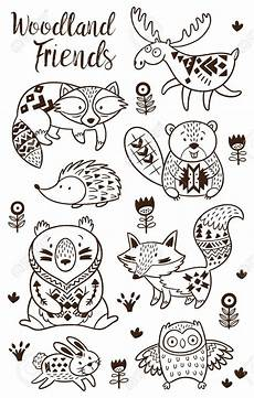 woodland animal coloring pages for vector