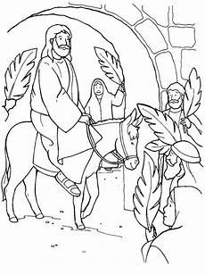 Jesus Through Jerusalem Gate In Palm Sunday Coloring Page