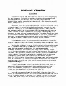 Example Autobiography Essay Exceptional How To Write A Autobiography Essay Thatsnotus