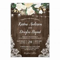 Rustic Country Wedding Invitations Rustic Country Chic Floral String Lights Wedding