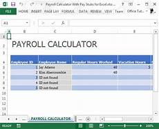 Payroll Withholding Calculator Payroll Calculator With Pay Stubs For Excel