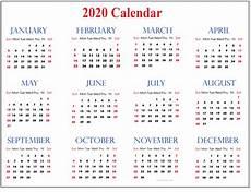 2020 Calendar Pdf Calendar 2020 With Holidays For All Country Event