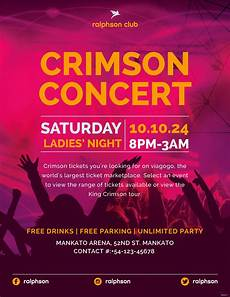 Free Concert Flyer Templates Free Crimson Concert Flyer Template In Adobe Illustrator