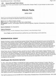 Biographical Essay Example Nikola Tesla Biographical Essay