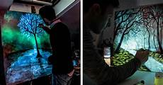 Light And Dark Artists Modern Glow In The Dark Paint Reveals Surprises In Paintings When