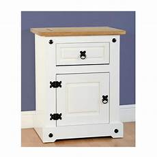 corona 1 drawer 1 door bedside cabinet in white distressed