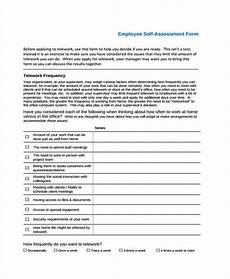Employee Assessment Sample Free 9 Self Assessment Forms In Pdf Ms Word Excel