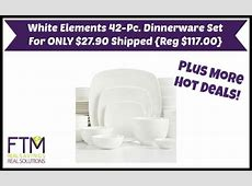 White Elements Hampton Square 42 Piece Dinnerware Set ONLY