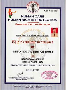 Social Service Certificate Format Indian Social Service Trust R Awards And Certificates