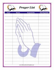 Prayer Template Prayer List Template