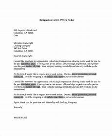 Examples Of Resignation Letters 2 Weeks Notice Free 6 Sample Resignation Letter Templates In Pdf Ms Word