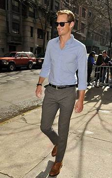 Light Grey Pants Brown Shoes Soft Blue Oxford Gray Slacks Black Belt Watch Brown