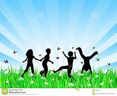 Children Playing Background Children Playing In Grass Stock Vector Illustration Of