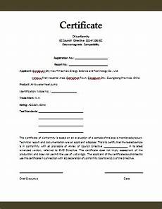 Certificate Of Manufacture Template Conformity Certificate Template Microsoft Word Templates