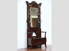 SOLD   Victorian 1900 Antique Hall Stand, Bench, Mirror, Coat & Hat Hooks   Harp Gallery