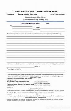Proposal And Contract Template Free Construction Estimate Templates Collections