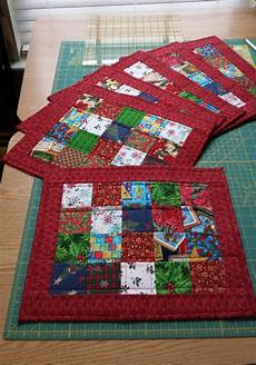 scrappy quilted placemats patchwork