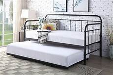 harlow hospital style black metal day bed with guest
