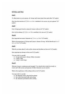 Mice And Men Essay Questions Of Mice And Men Past Paper Questions Document In Gcse