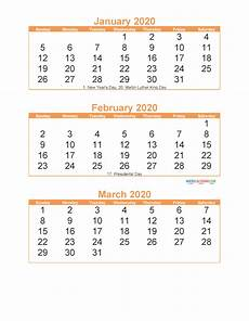 3 Month Calendar 2020 Free Printable 3 Month Calendar 2020 January February